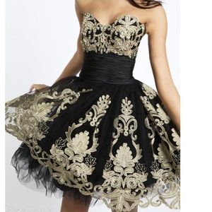 Black and gold cocktail prom dress 💛🖤